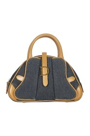 Pre-owned Double Saddle Denim Dome Bag