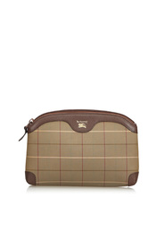 Plaid Canvas Clutch Bag