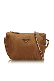 Quilted Nylon Chain Crossbody Bag