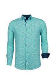 Italiaanse - Slim Fit Overhemd - Blouse Leaves Pattern