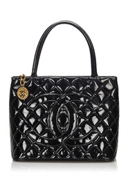 Patent Leather Medallion Tote Bag