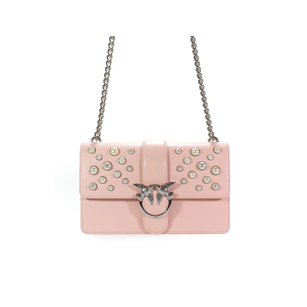 PINKO PINK LEATHER PEARLS LOVE BAG