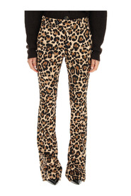 leopard print flare trousers