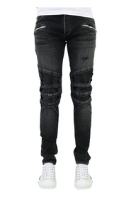 Ribbed Slim Jeans-Destroy