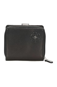 Camellia Zip Around Leather Small Wallet