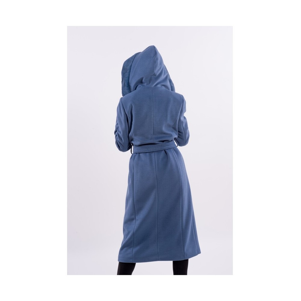 Fracomina Blue Hooded Coat - F120W08011W04401 Fracomina