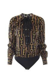 Clamp printed satin body shirt