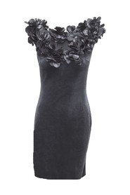 Velor dress with flowers