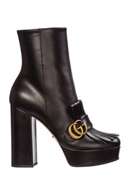 women's leather heel ankle boots booties GG Marmont