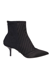 Corset-style satin ankle boots