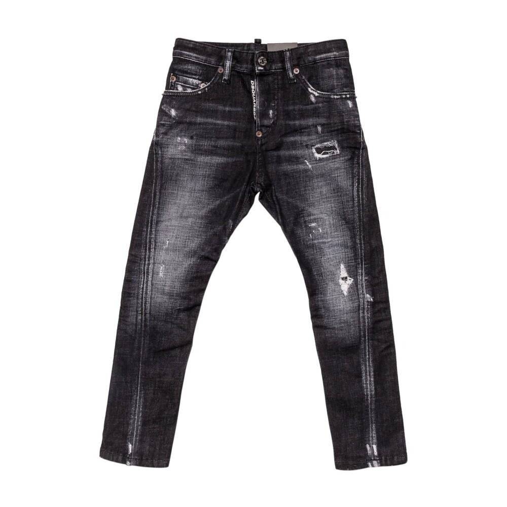 Distressed Effect Twist Jeans