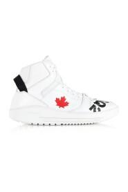 Vita läderhöga sneakers