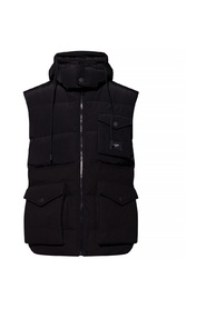 Quilted gilet with hood and branded plate
