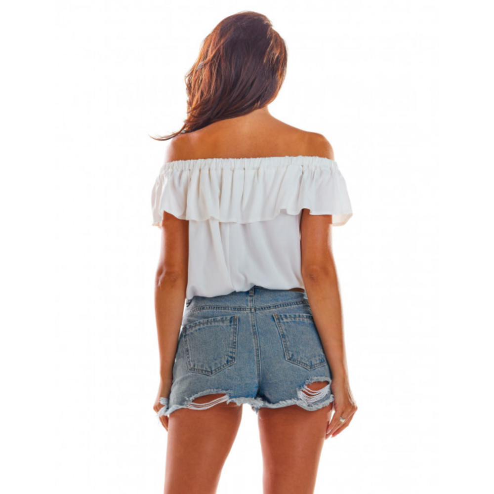 biały Bluzka hiszpanka z falbaną i odkrytymi ramionami | Awama | Bluzki z odkrytymi ramionami - Najnowsza zniżka bEhMS