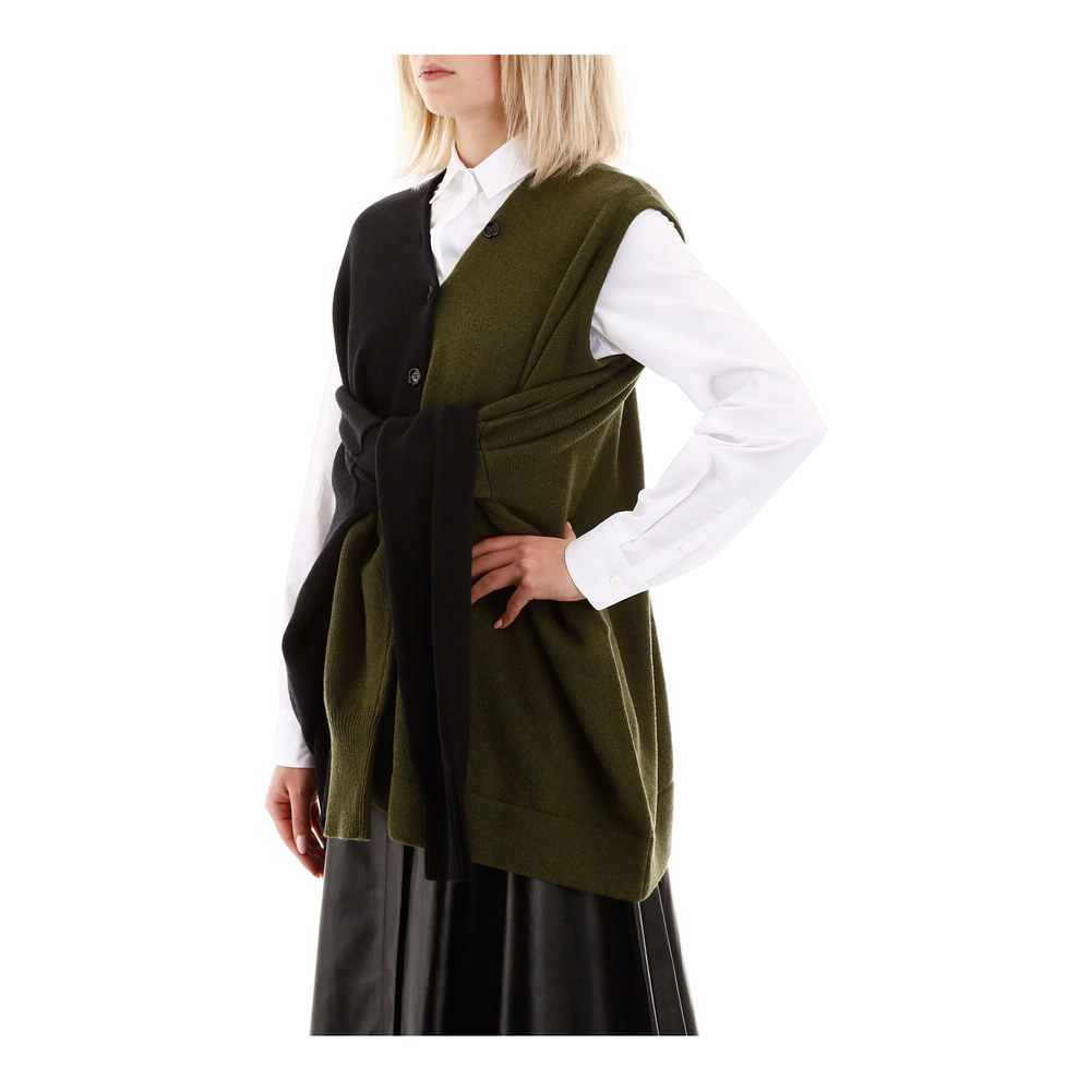 Marni Green Bicolor knit with tied sleeves Marni