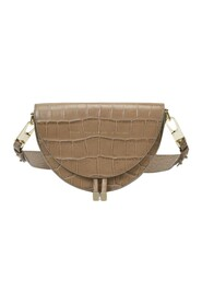 Saddle Bag in Glossy Croc Embossed Leather
