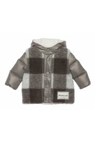 Gingham-panelled Puffer Jacket