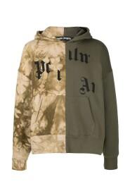 logo-print patchwork hoodie