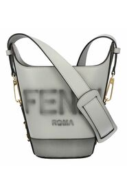 ouquet bucket bag in grey with logo print