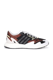 Rhisu Run sneaker in black mesh with white and red details