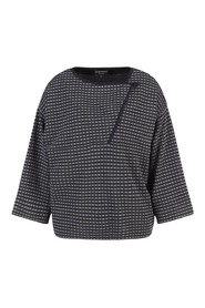 Fanatsia jacquard sweater with wool blend finishes, neckline with side opening