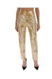 Straight trousers with a shiny finish