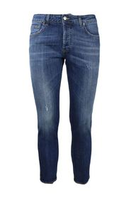 5-pocket jeans medium wash denim with abrasions