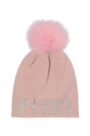 Hat with fur pom-pom