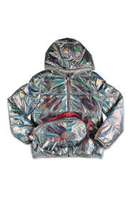 effect down jacket with hood and belt bag