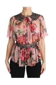 Floral Print Shirt With Bow Rose