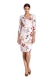 Wzorzysta sukienka z plisowanym paskiem w talii