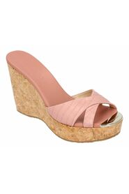 Croc-embossed leather wedge perfume in blush