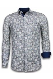 Italiaanse Slim Fit Overhemd - Blouse Drawn Flower Pattern