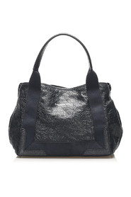 Navy Cabas Leather Tote Bag
