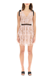 sequined lace mini dress