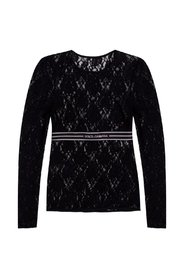 Openwork long sleeve top