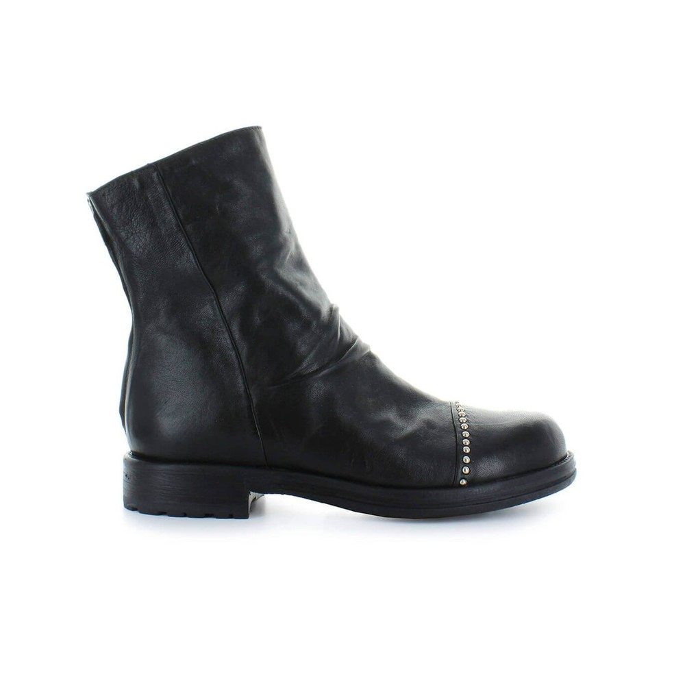 FRU.IT BLACK LEATHER ANKLE BOOTS WITH STUDS