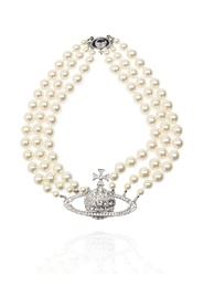 Appliquéd pearl necklace