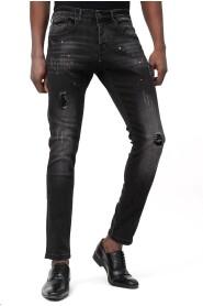 Jeans met Scheuren  en Verfspatten D-3113