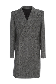 DBL BREASTED CHEVRON WOOL COAT