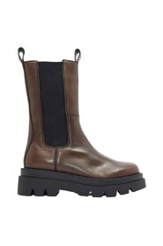 calf length leather boots