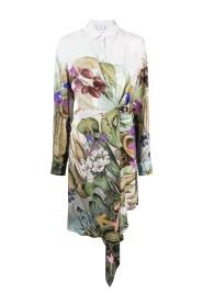 Robe chemise à imprimé végétal