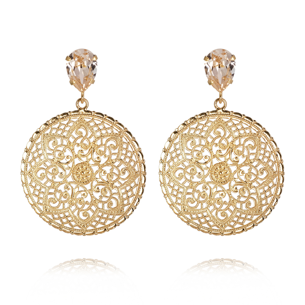 Caroline Svedbom Alexandra Earrings gold silk