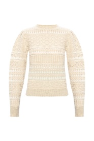 Wool sweater with openwork finish