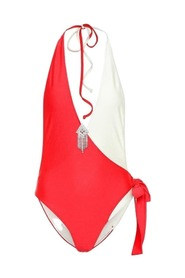 Runway Embellished Colorblocked Swimsuit