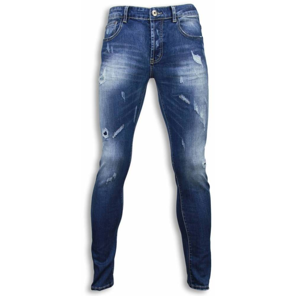 Blue Damaged Regular Fit Jeans
