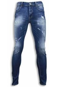 Blå Damaged Regular Fit Jeans