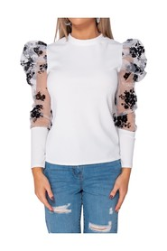Floral Flock Print Puffed Sleeve High Neck Top
