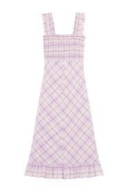 F5929 Seersucker Check Maxi Dress