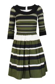 Striped Dress with Balloon Skirt